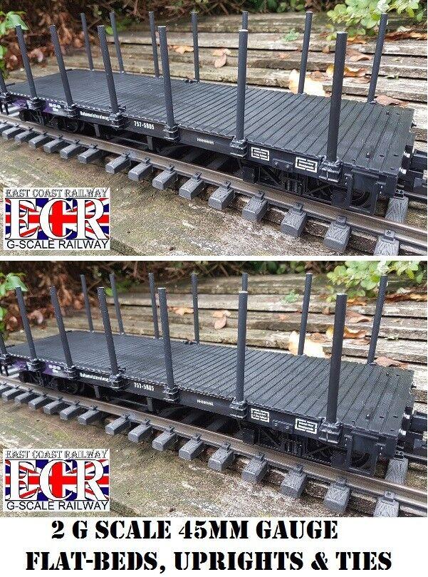 2,Ja Zwei G Maßstab Pritschenwagen,Pfosten & Riemchen Eisenbahn Fracht 45mm Spur
