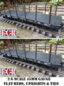 2-YES-TWO-G-SCALE-FLATBED-TRUCK-POSTS-amp-STRAPPING-RAILWAY-FREIGHT-45mm-GAUGE