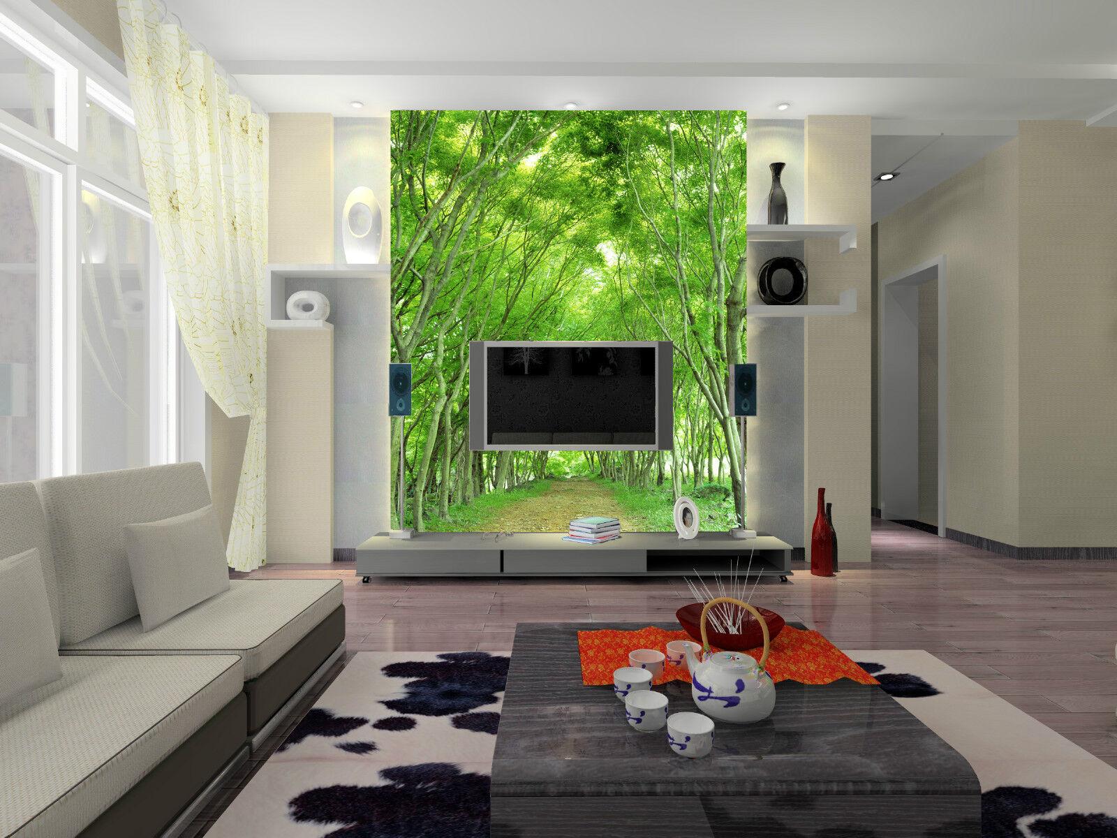 3D Green grass trees1 WallPaper Murals Wall Print Decal Wall Deco AJ WALLPAPER
