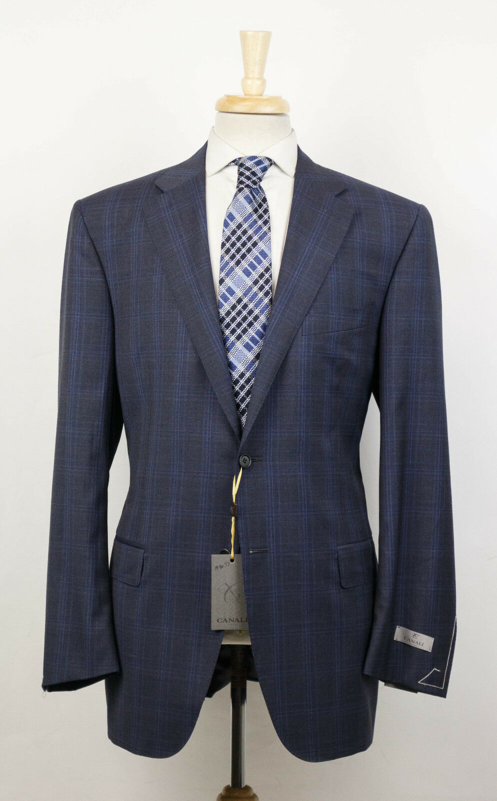 NWT CANALI 1934 grau Plaid Wool 2 Button Suit Größe 50/40 R Drop 7 1895