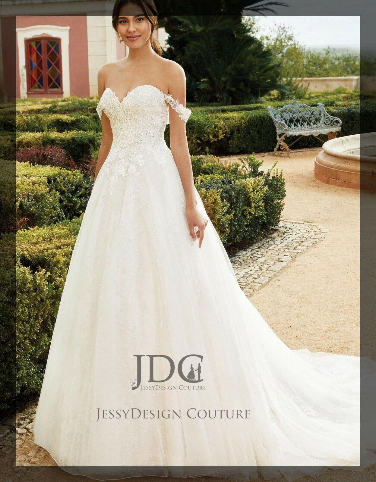 Paillettenbesetztes Brautkleid Spitze A-Linie Ivory 36 38 40 42 44 46 Übergröße