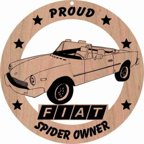 """Fiat 124 Spider Roadster Red Alder Wood Ornament Laser Engraved 3 3//4/"""" Round"""