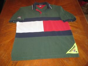 d215c839 VTG Tommy Hilfiger Sailing Polo Gear Big Flag Spellout Rugby Shirt ...