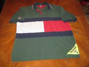 b3e7fe58 VTG Tommy Hilfiger Sailing Polo Gear Big Flag Spellout Rugby Shirt ...