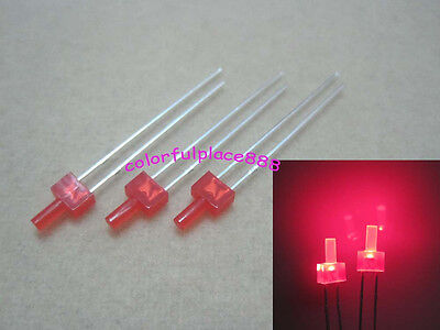 100pcs, 2mm Red Diffused LED Diodes Flat Top Leds Light Red Lens Free Shipping