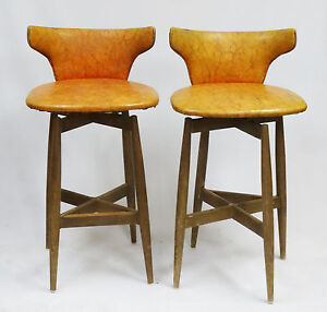 Image is loading PAIR-of-1960s-MID-CENTURY-S-J-WIENER-KODAWOOD- : wood swivel bar stool - islam-shia.org