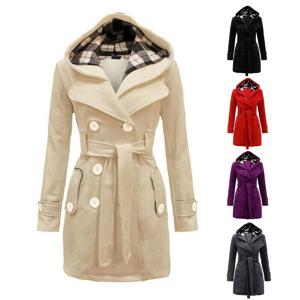 Womens Winter Double-breasted Hooded Long Section Jacket Outwear Coat