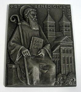 Buderus-Kunstguss-Plakette-Walter-Schubert-1984-Benedictus-Benedikt-von-Nursia