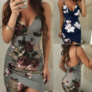 Fashion-Womens-Floral-Party-Mini-Dress-V-Neck-Ladies-Summer-Beach-Short-Sundress