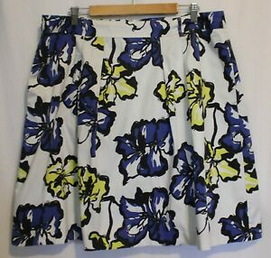 JACQUI-E-Black-White-Cobalt-Yellow-Floral-Flowers-Box-Pleat-Full-Skirt-18