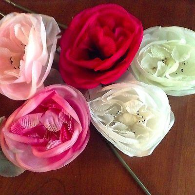 """Di Animo Gentile Vintage Modisteria Fiore Rosa 6 """" Scegli Bianco Avorio + Rosy Rossa Per Cappello"""