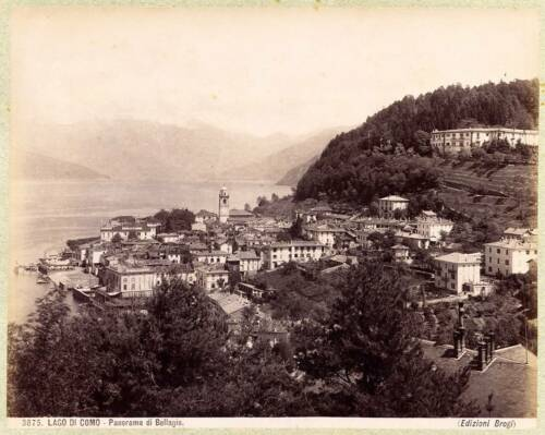 Lake Como Panorama of Bellagio Large albumen photo 1890c Giacomo Brogi L130