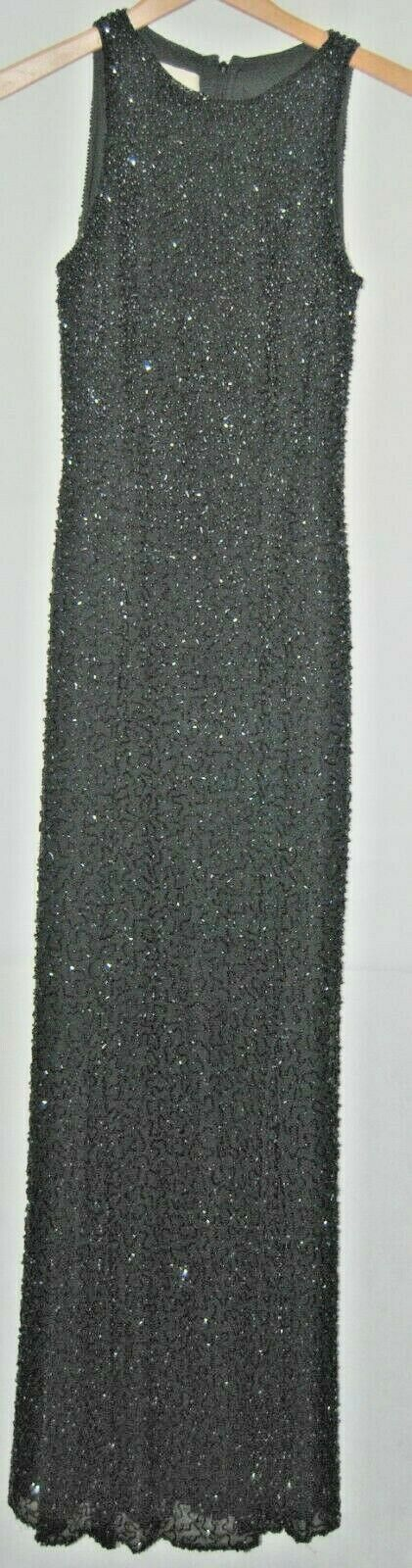 Vintage Cache Heavy Crystal Beaded schwarz Gown Cocktail Dress Sleeveless Silk XS