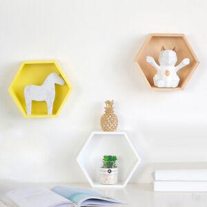 In-Legno-Mensola-Esagonale-da-Parete-Scaffale-Ornamenti