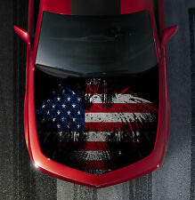 H51 AMERICAN FLAG EAGLE Hood Wrap Wraps Decal Sticker Tint Vinyl Image Graphic