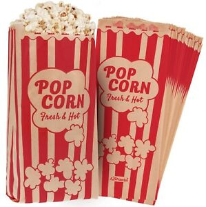 Paper-Popcorn-Bags-2oz-11-X-5-X-3-034-Leak-Grease-Proof-Vintage-Retro-Style