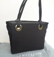 Oroton Bag Handbag Stencil Tote Medium Black Leather Canvas Rrp$395