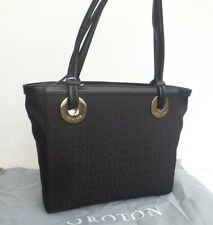 OROTON Bag Handbag Stencil Tote Medium Black Leather Canvas RRP$395 New