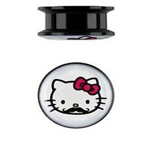 1-PAIR-HELLO-KITTY-MUSTACHE-SCREW-FIT-GAUGES-ACRYLIC-PLUGS-TUNNELS-DOUBLE-FLARE