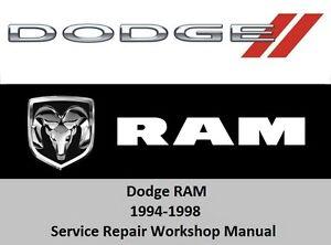 dodge ram 1994 1998 service repair workshop manual 1500 2500 3500 cd rh ebay com 96 Dodge Ram 1500 98 dodge ram 1500 repair manual