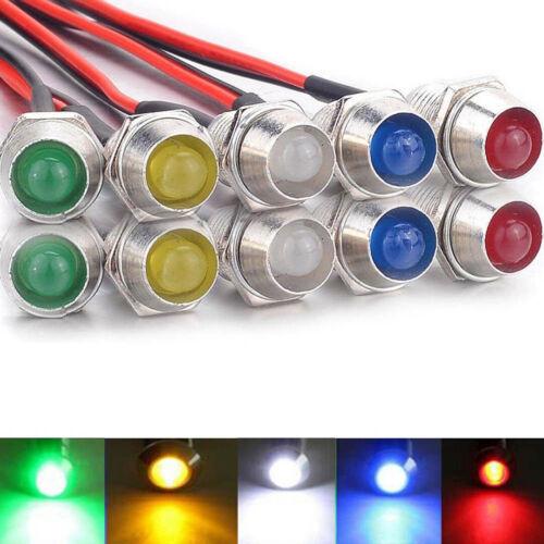 10x 8mm LED Indicator Signal Light Bulb Pilot Dash Panel For Car Truck Boat RV