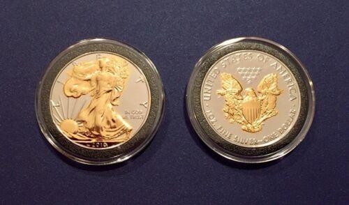 2010 24K GOLD /& RUTHENIUM AMERICAN SILVER EAGLE *Enchanced on Both Sides*