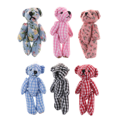 2Pcs 6Cm Kawaii Mini Jointed Bear Dolls Kids Diy Stuffed Animal Plush Toys KWCA