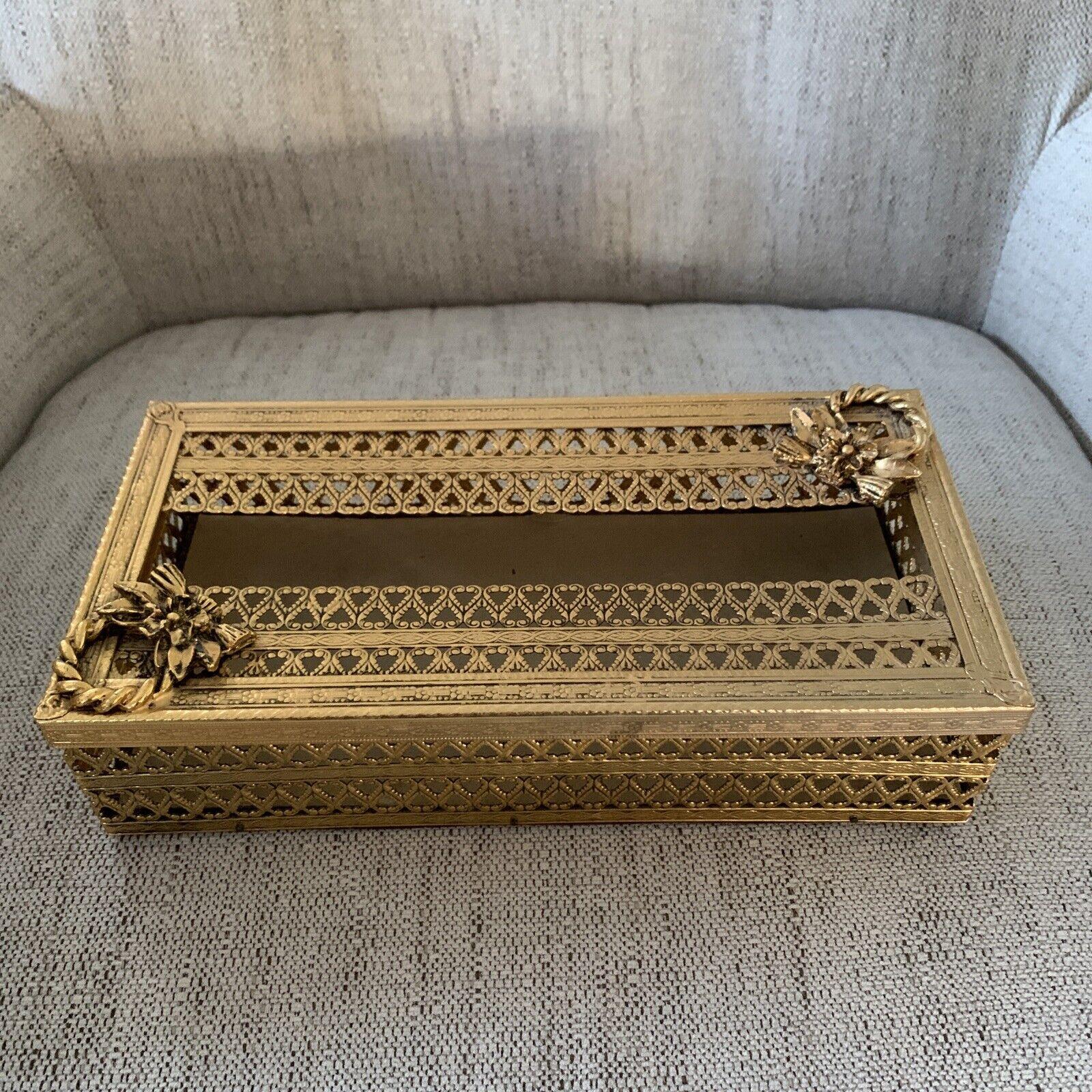 Vintage Flower Rope Brass Filigree Rectangular Tissue Box Cover Holder