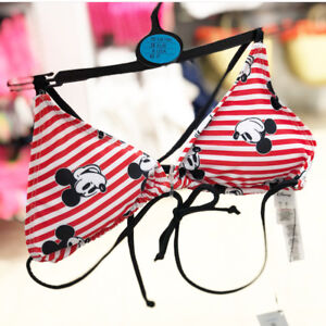 e2e8507b8f6 Details about DISNEY MICKEY MOUSE PRIMARK Red & White Striped Ladies Bikini  Swimming Costume