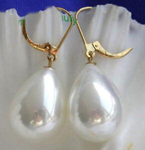 Stunning-Mirco-Delicate-12x14mm-southsea-Shells-Pearl-Drop-Dangle-Earring