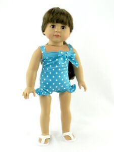 Teal-Polka-Dot-Swimsuit-Fits-American-girl-dolls-18-034-Doll-Clothes-Bathing-Suit
