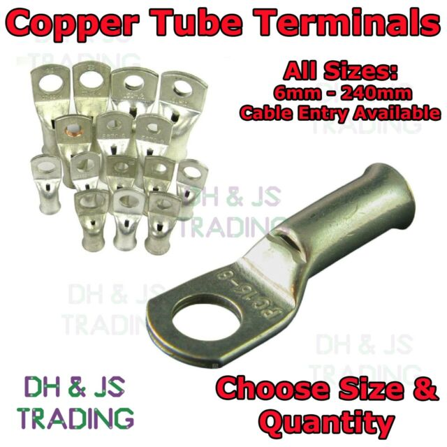 COPPER TUBE CRIMP TERMINALS 35mm x 8mm PACK OF 10 BATTERY EYELETS//TERMINALS