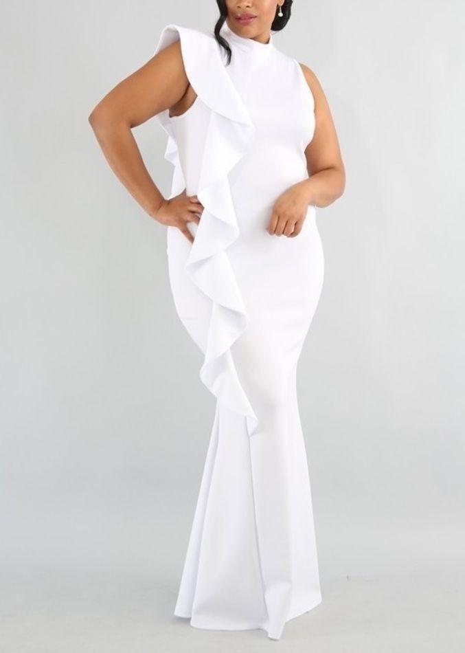 Plus White Side Ruffle Ruffle Ruffle Mermaid Maxi Dress Bodycon Gown XL 1X 366cab