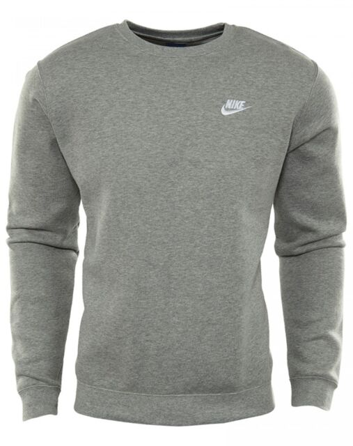 0b2c9f190 Nike Nsw Club Fleece Crew Mens 804340-063 Grey White Logo Sweatshirt Size M