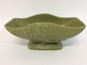 Brush Pottery Green Planter Rectangular Scalloped Rim Flower Leaves Art Deco