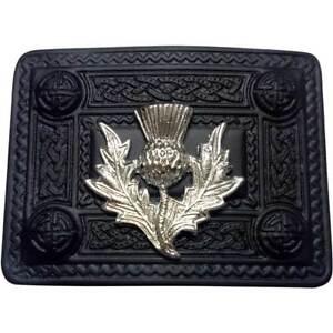 Belle Hw Écossais Kilt Boucle De Ceinture Chardon Heritage Celtique 4 Demo Jet Black/boucles-afficher Le Titre D'origine