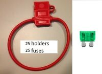 (25) 10 Gauge Atc Fuse Holder With Cover + (25) 30 Amp Fuses In-line 10 Ga. Usa