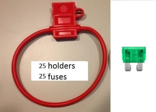 10 GAUGE ATC FUSE HOLDER With COVER + 30 AMP FUSES IN-LINE 10 GA USA 25 25