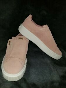 Womens Pink Puma Suede Platform Strap Sneakers Casual