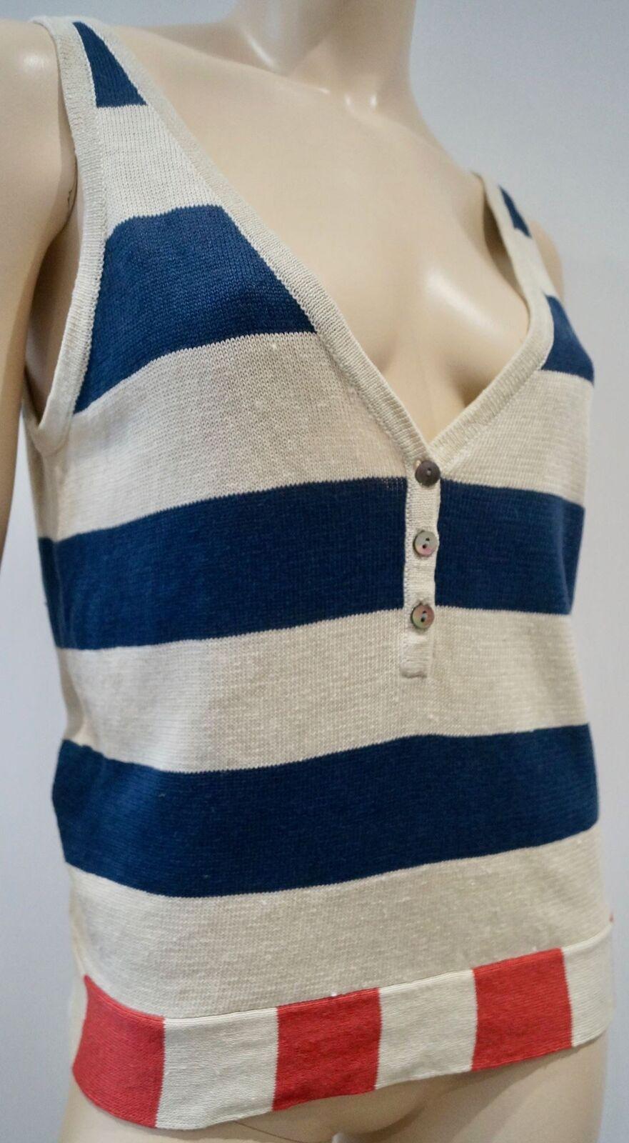 Women's Cream Navy & Red Red Red 100% Linen Striped Knitwear Tank Vest Jumper Top M 62af60