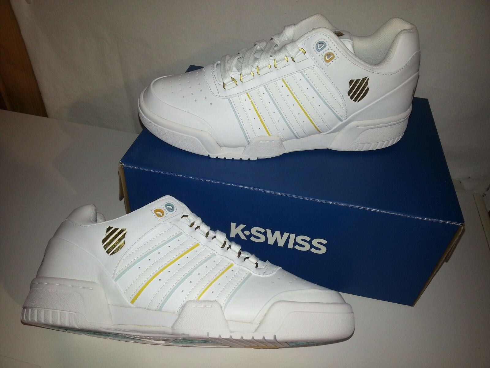 K-Swiss Gstaad Damen Leder Sneaker Sportschuhe weiß-kombiniert Größe 41 NEU