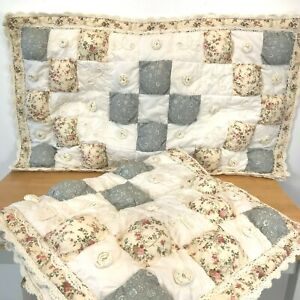 Jcpenney Home 2 King Pillow Shams Puffy Quilted Crochet Trim Farmhouse Blue K7 Ebay