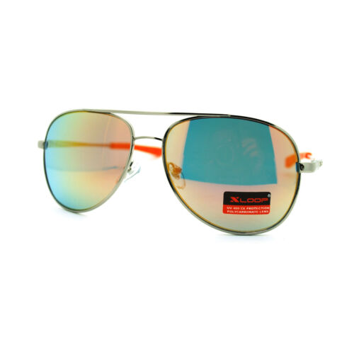 X Loop Mens Color Mirror Lens Sporty Metal Rim Bike Cop Aviator Sunglasses