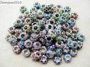 Big-Hole-Crystal-Rhinestone-Pave-Pewter-Rondelle-Spacer-Beads-Fit-European-Charm
