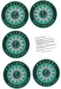 5 Stück GdP - Aufkleber - Polizei - Autostern !