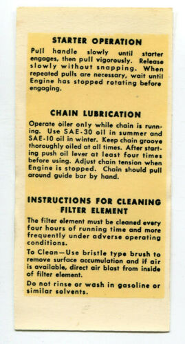 Clinton Engine Chainsaw Starter Lube Cleaning Instructions Decal Repro