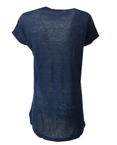 shirt Maxi A Scollo In 100 Donna t Ottod'ame Dm6474 Profondo Lino V Made Ita dwXqSEI