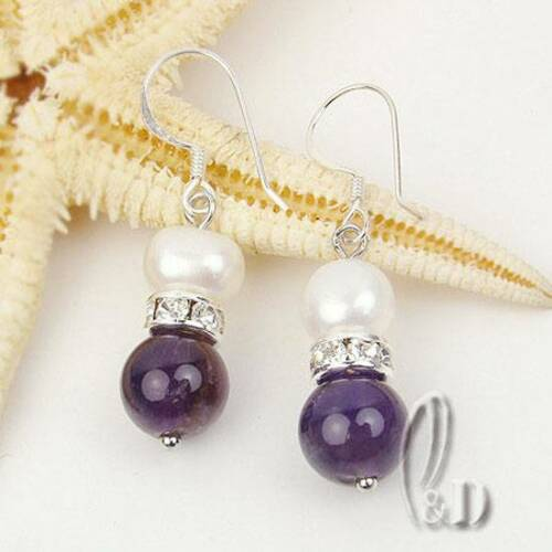 Chic White Genuine pearls&Natural Amethyst Silver Earrings AU SELLER e01518