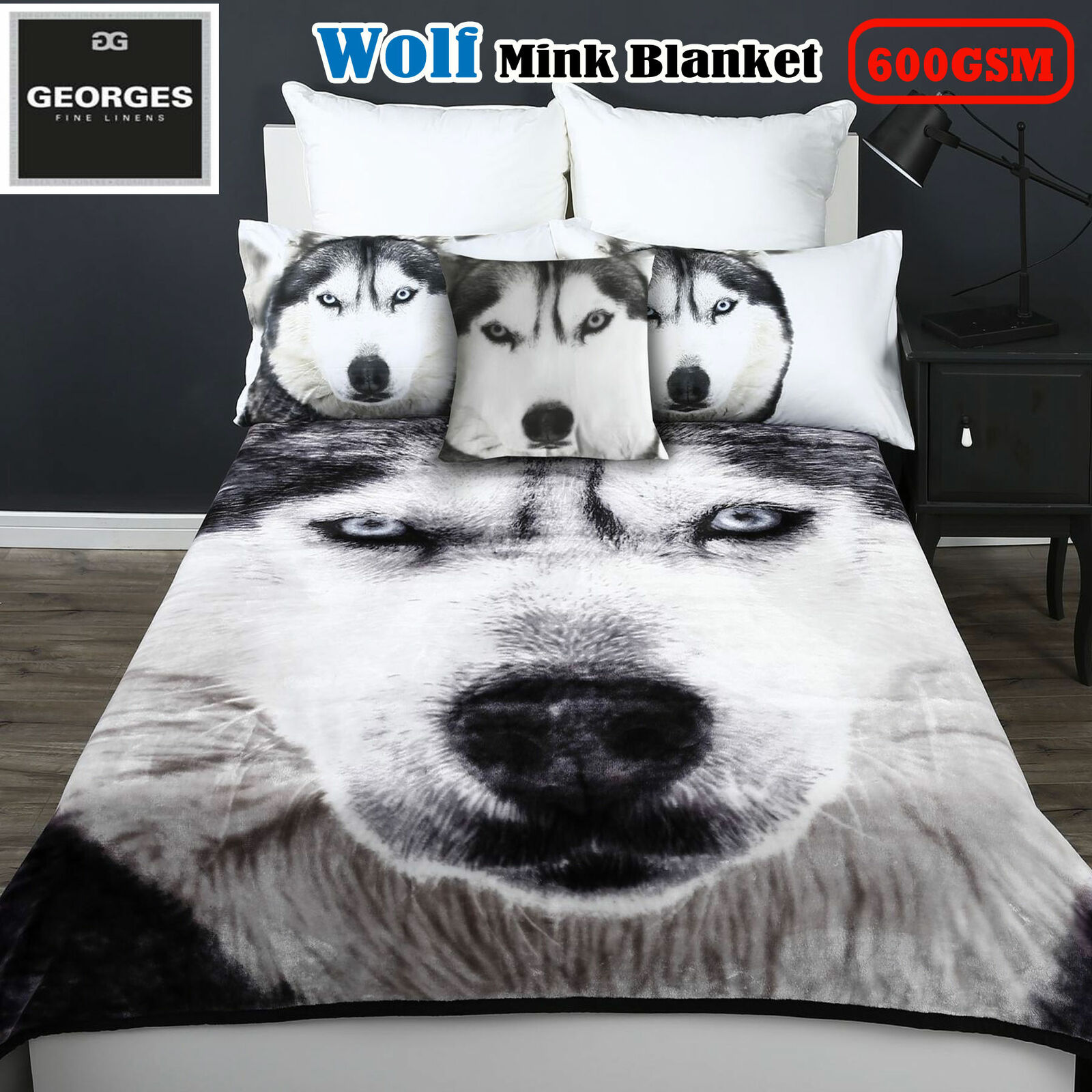 600GSM WOLF Winter Mink Blanket - Choice of SINGLE or QUEEN