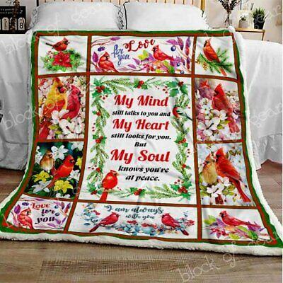 Cardinal Bird I Am Always With You Version 2 Fleece Blanket 50x60x80 Made In US